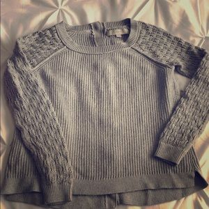 LOFT sweater with button back -grey